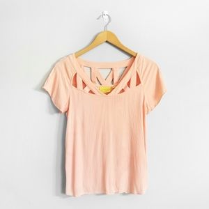 MAEVE Anthropologie Peach Cut Out Blouse Top